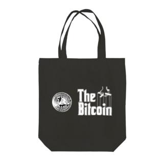 カマラオンテのbitcoin ビットコイン ゴッドファーザー風 パロディ 白字白フォント 白字の文字なのでカラーは黒色がオススメです 白色だと文字が分かりません Tote bags