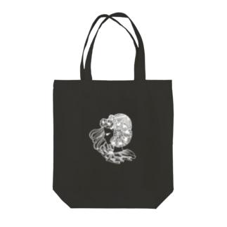 花と横向きの女の子-白 Tote bags