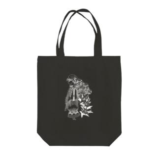 百合と横向きの女の子-クロユリ Tote bags