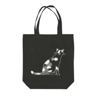 猫(後ろ姿)ホワイト Tote bags