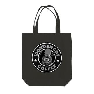 wonder catのwonder cat coffee/モノトーン Tote bags