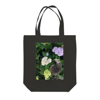 ヨウムと紫陽花 Tote bags