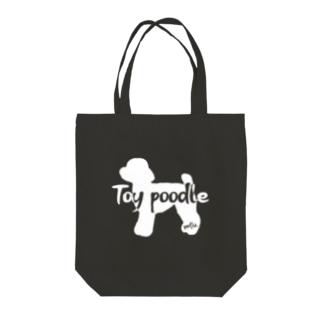 02トイプードル 白シルエット Tote bags