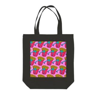誘惑のフライドポテト🍟 ピンクAO / FRENCH FRIES GULTY PLEASURE Tote bags