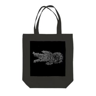 綿棒刺突図(黒) Tote bags