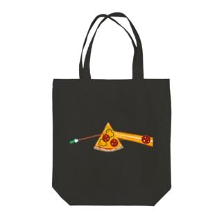 狂気とチーズほとばしるピザ Tote bags