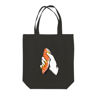 75chキッチンのにぎり鮭 Tote bags