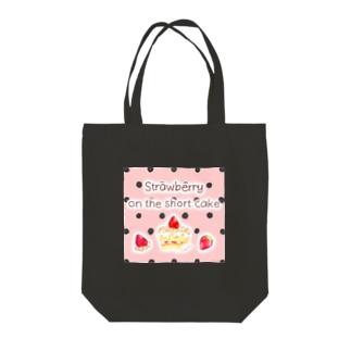 どるちぇ*うさぎの《フード01》*苺のショートケーキ*ピンク黒ドット Tote bags