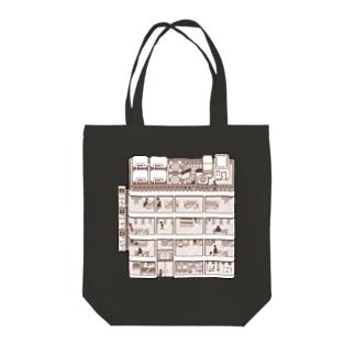 ビルディング Tote bags