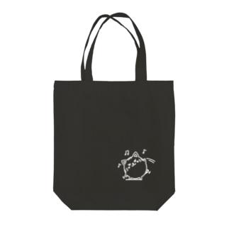 茶トラニャンコロまる・体操(小)(線画:白バージョン) Tote bags