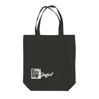 JOYFUL | Grass-eating cat | Left Bottom | Positive white Tote bags