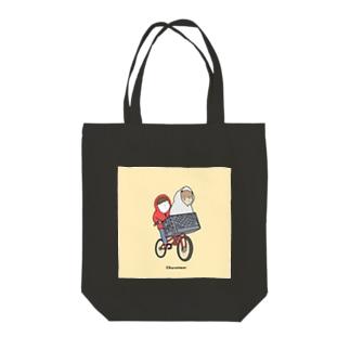 原ストマックのしれっと自転車スナギツネ Tote bags