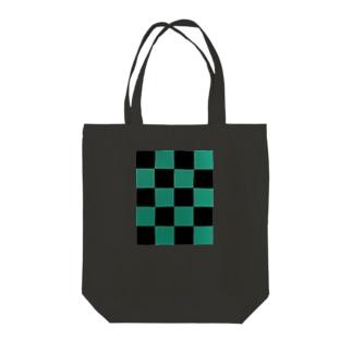 黒緑 流行 升目 Tote bags