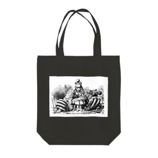 鏡の国のアリス 女王アリス Tote bags