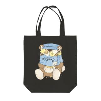 crazy/bear Tote bags