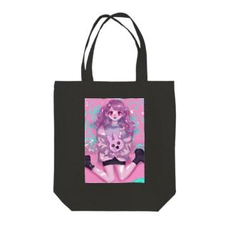 かわいすぎるウサちゃん(&女の子ver.) Tote bags