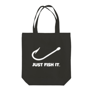 JUST FISH IT (白) Tote bags