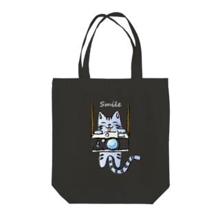 Camera & Cat カメラとネコ(濃色) Tote bags