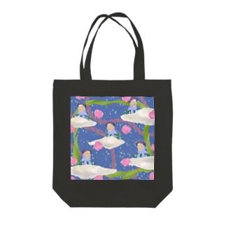 flying girl/blue Tote bags