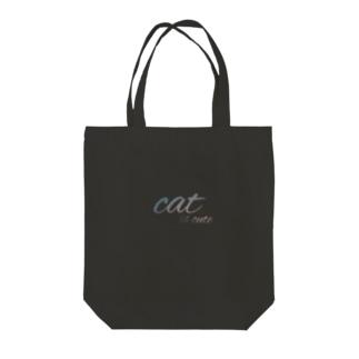 cat is cute ロゴVer. Tote bags