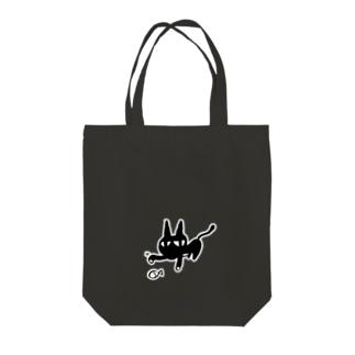 白ふち 黒猫とお魚 Tote bags
