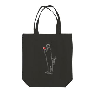 へんなゐきもの給仕さん黒トートバッグ Tote bags