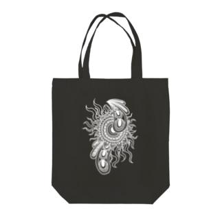 ゼンタングル風の太陽(濃色用) Tote bags