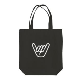 シャカサイン WHT Tote bags
