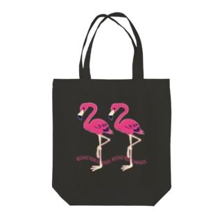 CT103 22*フラミンゴのメッセージA Tote bags