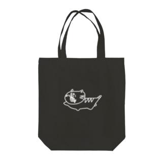 222シロ猫(白線Ver.) Tote bags