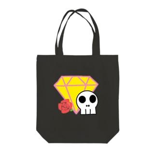 ダイヤしゃれこうべローズ Tote bags