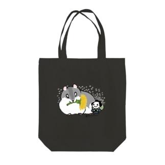 『ハムスターとちょんまげ君(たんぽぽ)』 Tote bags