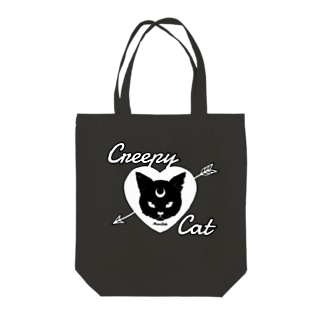 【MOON SIDE】 Creepy Cat #Black Ver.2 Tote bags
