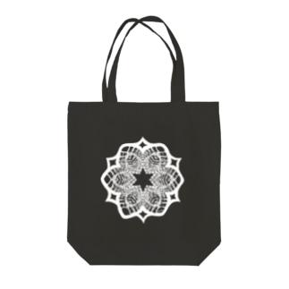 (白抜き)レースの幾何学模様な花 Tote Bag