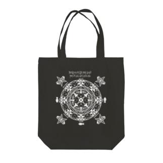猫召喚魔法陣(白) Tote bags