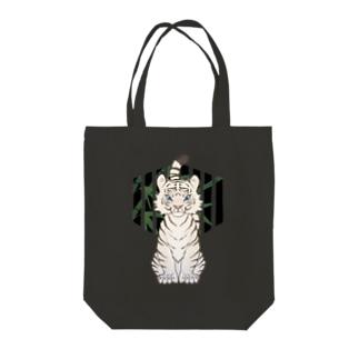 上中さとるの虎(白) Tote bags