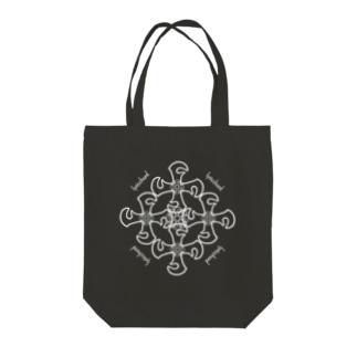 lyricchordクロス白ライン/ドローイングアートトート Tote bags