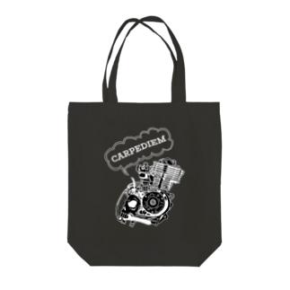 ドクロエンジン黒 Tote Bag