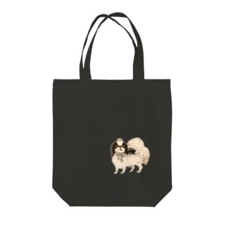 狆 ブルーリボン Tote bags