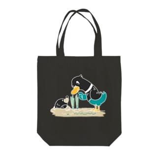 CT159 ネギを値切っている鴨カモ*C*大きいイラスト*白フチあり Tote bags