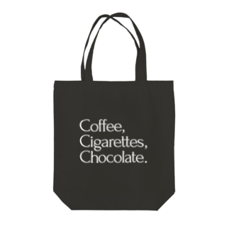 Coffee,Cigarettes,Chocolate. Tote bags