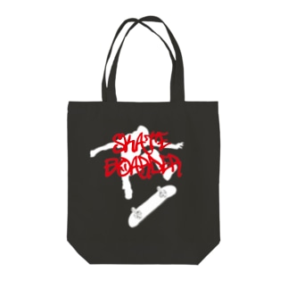 DRIPPEDのSKATEBOARDER-スケートボーダー-白ロゴ Tote bags