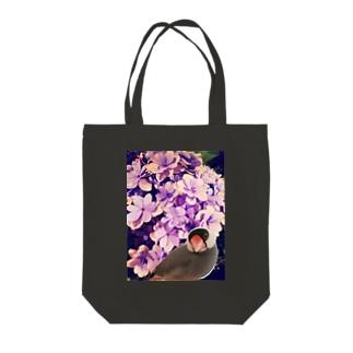 ノスタルジーな紫陽花と文鳥さん Tote bags