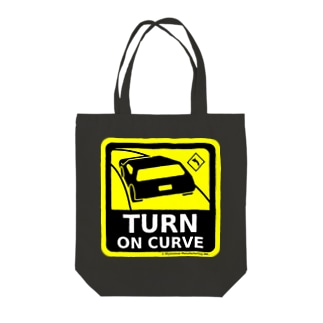 TURN ON CURVE Tote bags