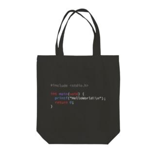 C言語でHelloWorld!(背景黒) Tote bags