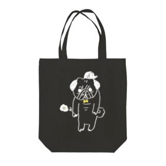 お花パグ/white Tote bags