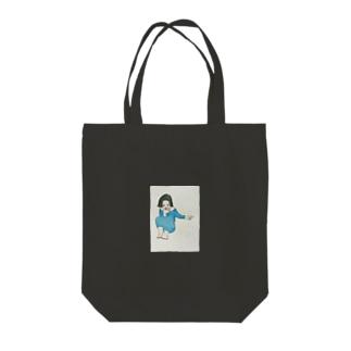 何かを見て笑う人 Tote bags