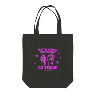 FREE THE ANIMALS/YOURSELF(PINK) Tote bags