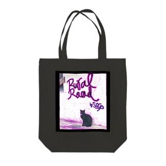 ネオンネコ Tote bags