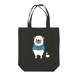 ぽちゃっとパグ(カラー) Tote bags